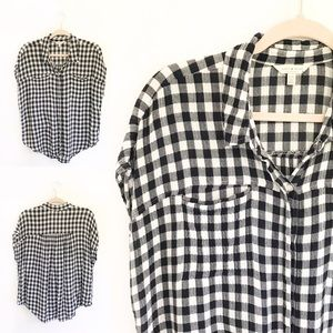 Lucky Brand - Navy Blue & White Short Sleeve Plaid